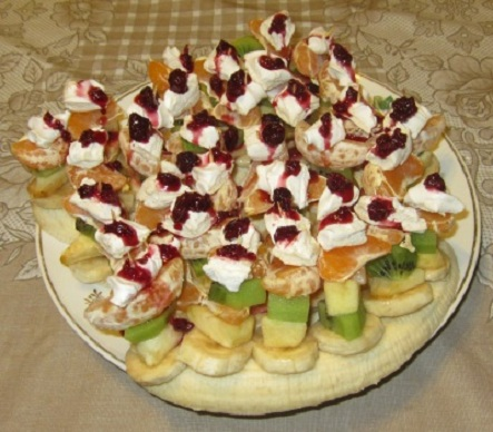 Канапе «Зефирки» с фруктами